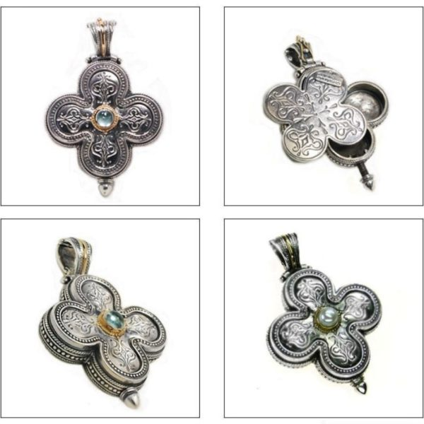 Gerochristo Solid 18K Gold & Silver Medieval-Byzantine Cross Pendant, with Aquamarine or Pearl