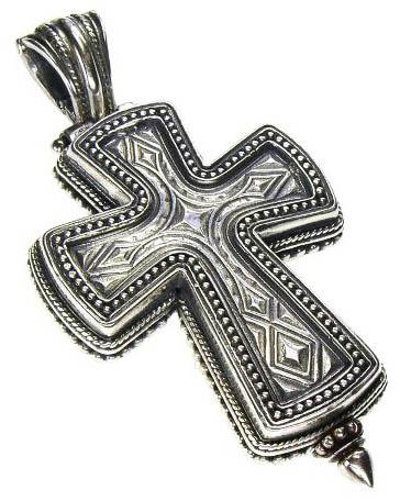 Gerochristo Sterling Silver Medieval-Byzantine Locket Cross Pendant