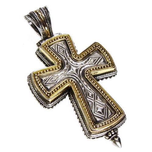 Gerochristo Solid 18K Gold & Sterling Silver Medieval-Byzantine Reliquary Locket Cross Pendant
