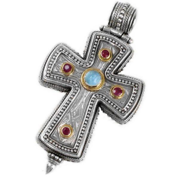Gerochristo Solid 18K Gold, Silver & Stones Medieval Byzantine Reliquary Locket Cross Pendant