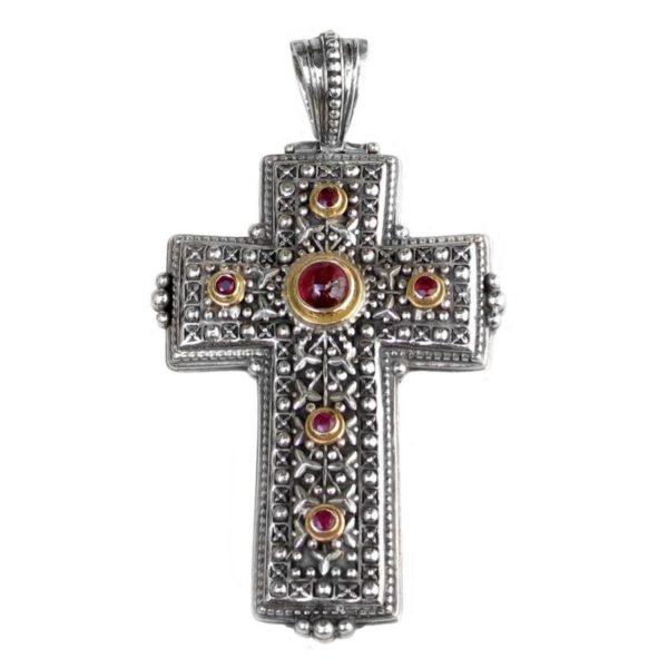 Gerochristo Solid 18K Gold, Sterling Silver & Gemstones Medieval-Byzantine Cross Pendant