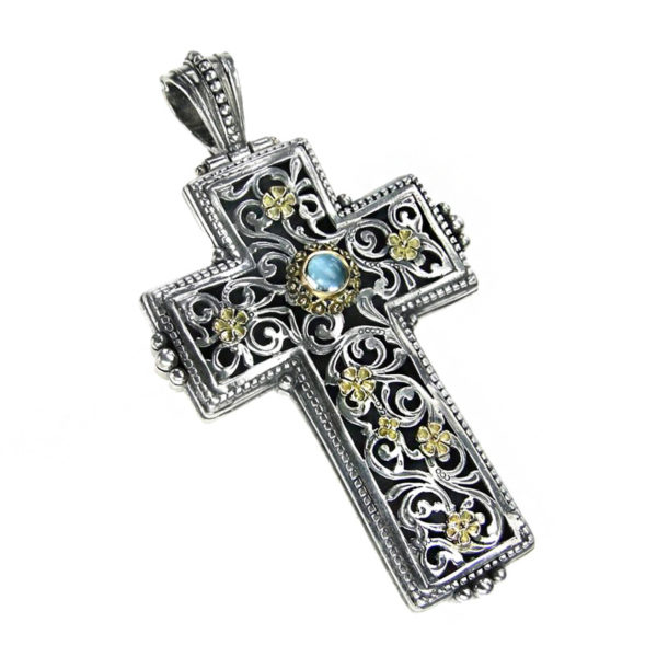 Gerochristo Solid 18K Gold & Silver Medieval-Byzantine Large Cross Pendant
