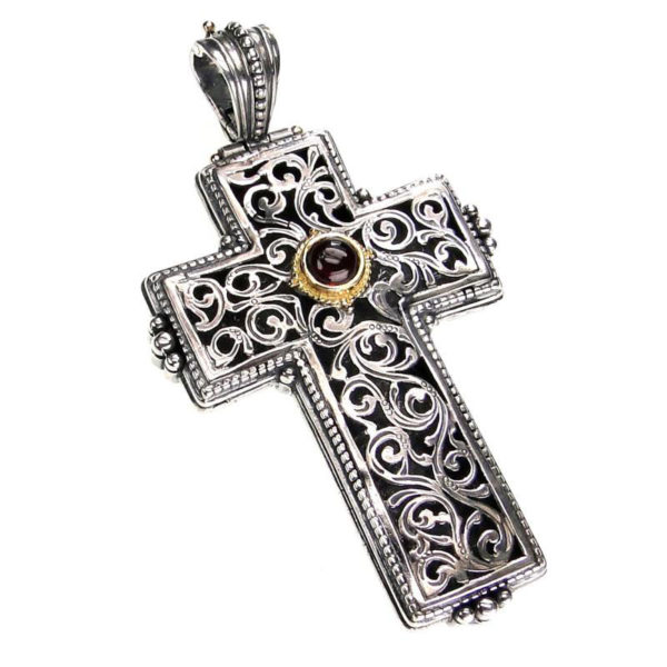 Gerochristo Solid 18K Gold & Sterling Silver Tourmaline Medieval-Byzantine Cross Pendant with a pink tourmaline
