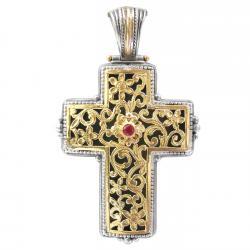Gerochristo Solid 18K Gold, Silver & Ruby Byzantine Cross Pendant