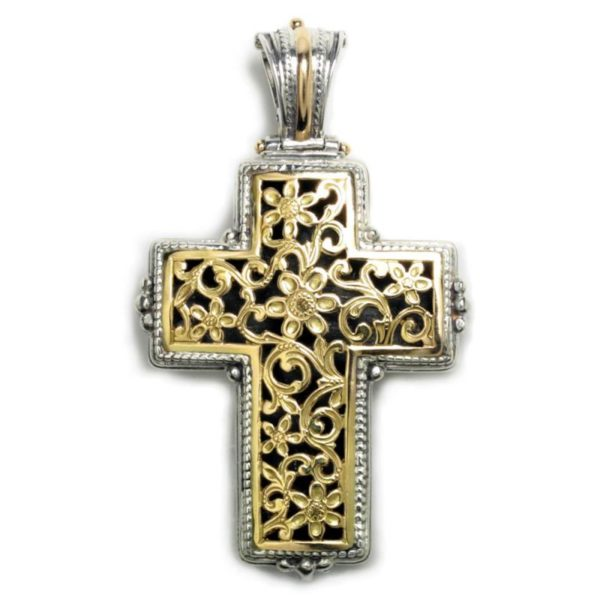 "Gerochristo Solid 18K Gold & Sterling Silver Byzantine Cross Pendant <div class=""productListColumn1""></div>"