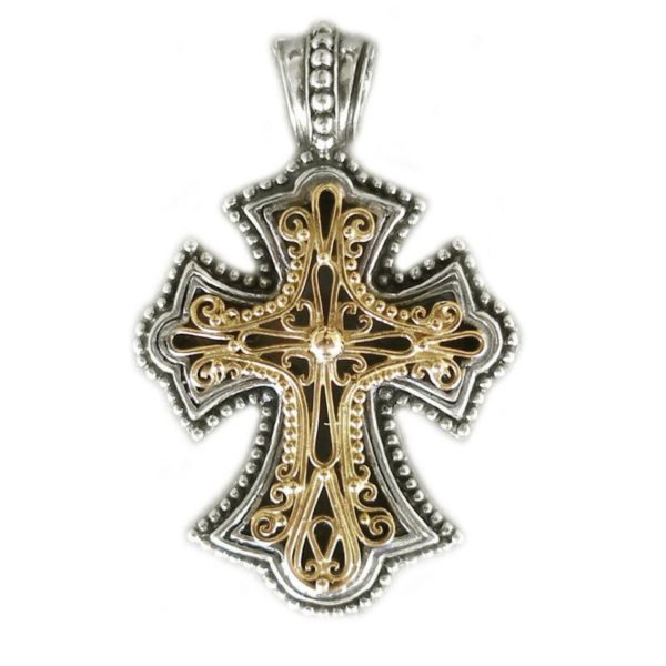 Gerochristo Solid 18K Gold & Silver Byzantine Cross Pendant with filigree designs