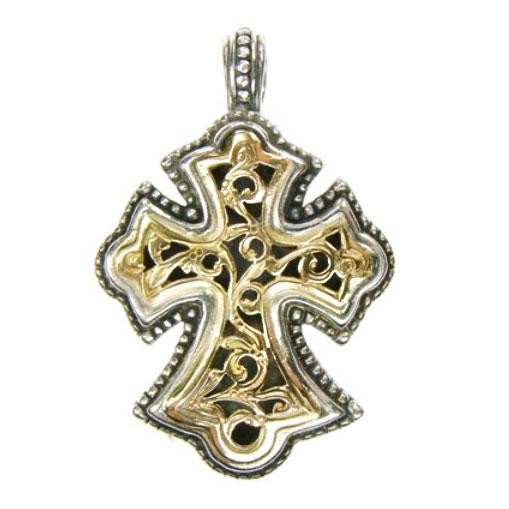 Gerochristo Solid 18K Gold & Silver Byzantine Cross Pendantwith filigree motifs