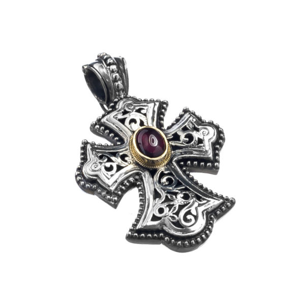 Gerochristo Solid 18K Gold & Sterling Silver Byzantine Cross Pendantwith garnet gemstones
