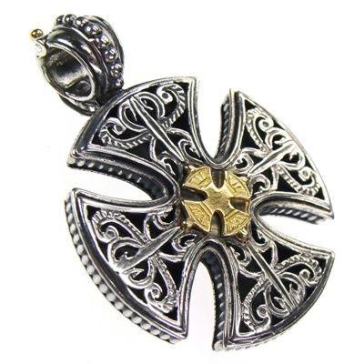 Gerochristo Solid 18K Gold & Sterling Silver Maltese Cross Pendant