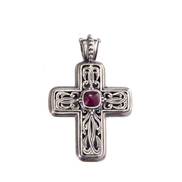 "Gerochristo Sterling Silver Filigree Cross pendant decorated with a garnet gemstone. <div class=""description productGridProductTeaser""></div>"