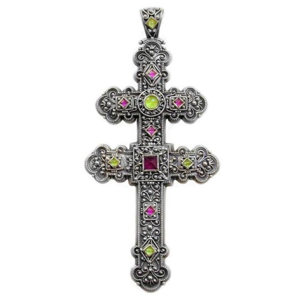 Gerochristo Sterling Silver Multicolor Byzantine Large Cross Pendant, decorated with Peridot and Pink Tourmaline gemstones