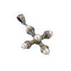 Gerochristo Solid 18K Gold, Silver, Pearls & Ruby Byzantine Cross Pendant