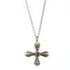 Silver 925 and 18K Gold, handmade, Byzantine, Gerochristo cross with Pearls and Ruby.