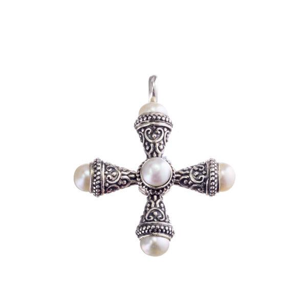 Silver, Handmade, Gerochristo, Pearl cross.