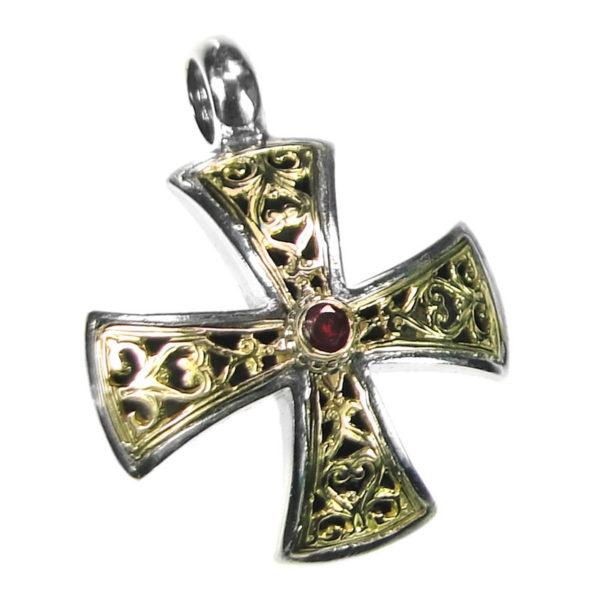 Gerochristo Solid 18K Gold & Sterling Silver Filigree Maltese Cross Pendant with Ruby Gemstone.