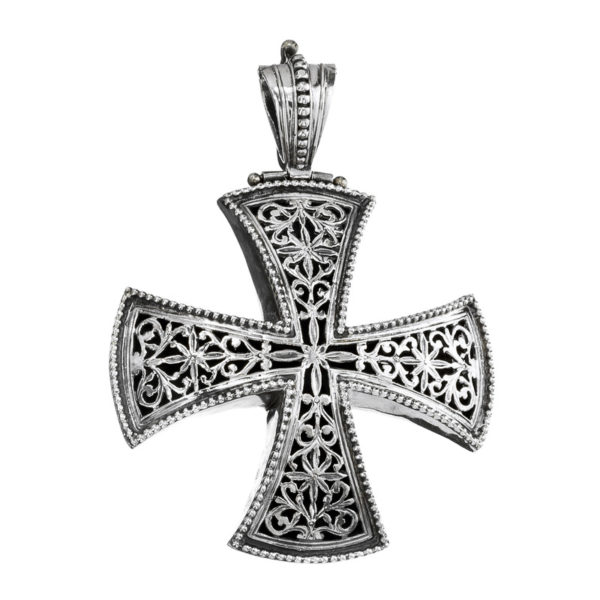 Gerochristo Sterling Silver Large Maltese Cross Pendant