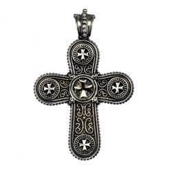 Gerochristo Unique Sterling Silver Cross Pendant, decorated with small Maltese crosses
