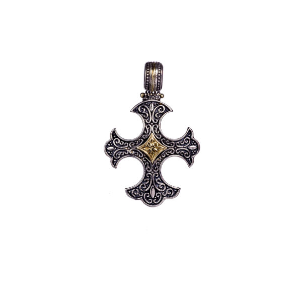 Gerochristo Solid 18K Gold & Silver Medieval-Gothic Cross Pendant