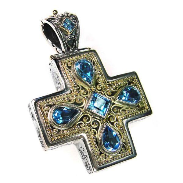 Gerochristo Solid 18K Gold, Silver & Blue Topaz Byzantine-Medieval Cross Pendant