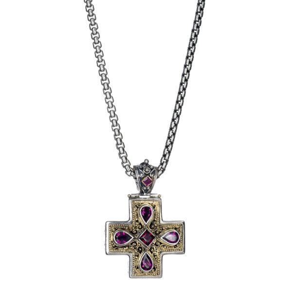 Gerochristo Solid 18K Gold, Silver & Garnet - Amethysts Byzantine-Medieval Cross Pendant