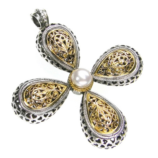 Gerochristo Solid 18K Gold, Silver & Pearl Byzantine-Medieval Large Cross Pendant decorated with Freshwater Pearl