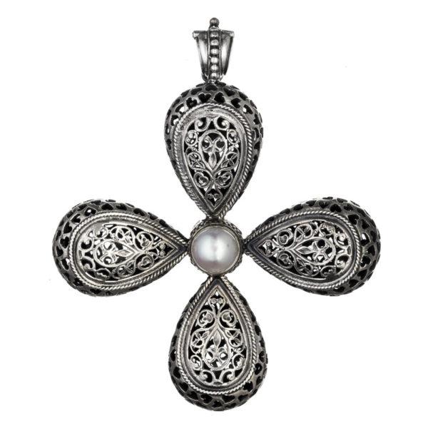 Gerochristo Sterling Silver & Pearl Byzantine-Medieval Large Cross Pendant