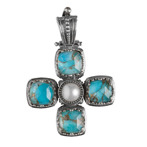 Gerochristo Sterling Silver & Pearl Byzantine-Medieval Doublet Cross Pendant An impressive cross pendant in sterling silver with pearl and a doublet clear quartz over turquoise stones