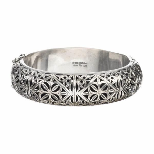 Gerochristo Sterling Silver Medieval Filigree Bangle Bracelet