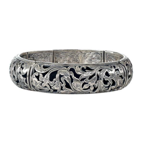 Gerochristo Sterling Silver Large Floral Bangle Bracelet