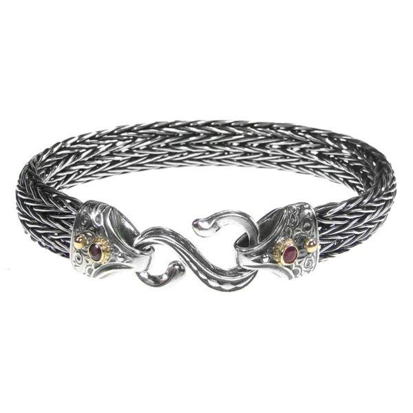 Gerochristo Solid 18K Gold & Sterling Silver Medieval Byzantine Rope Bracelet