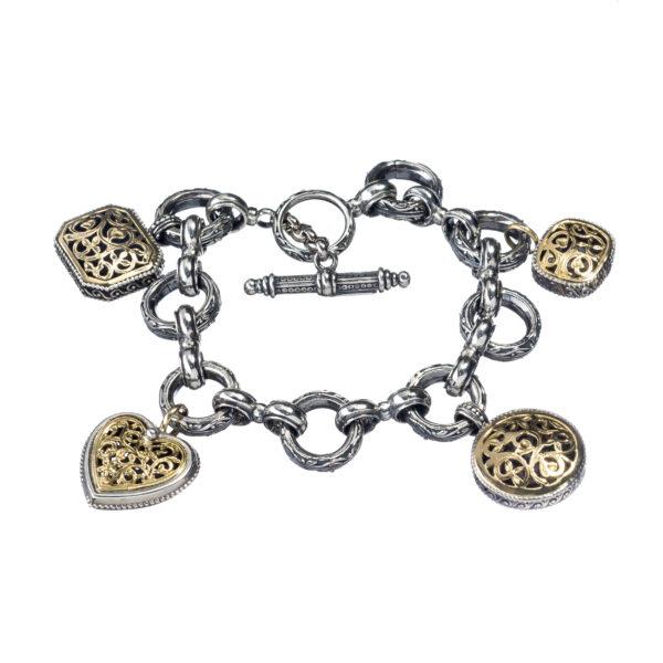 18K Gold, Silver 925, handmade, Byzantine bracelet by Gerochristo.
