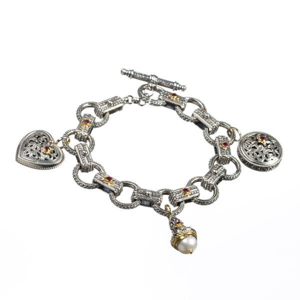 18K Gold and 925 Silver, handmade bracelet with Rubies and Pearls.