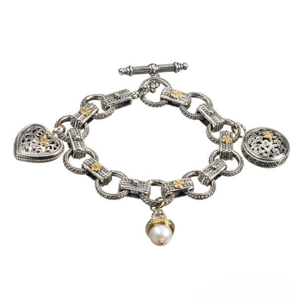Gerochristo Solid 18K Gold & Sterling Silver - Medieval Charm Bracelet