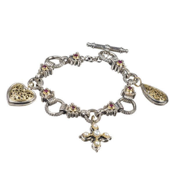18K Gold and Silver 925, handmade bracelet by Gerichristo, with Rubies and Pearl.