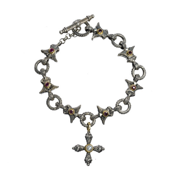 18K Gold and Silver 925, handmade, Byzantine, bracelet by Gerochristo with Rubies and a genuine Pearl.