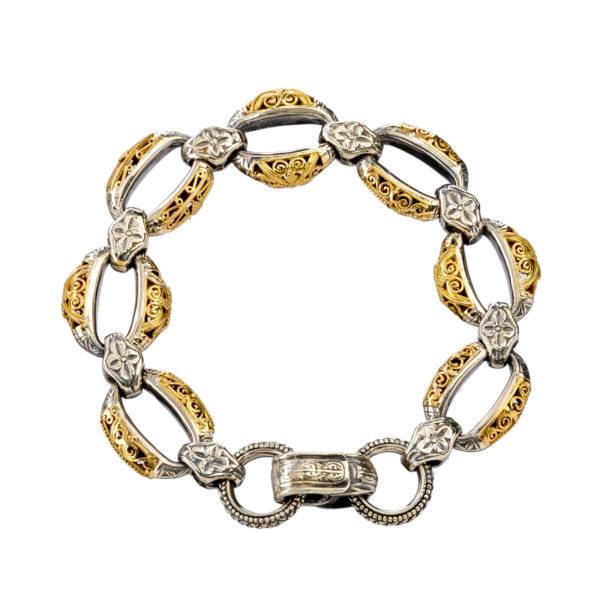 Gerochristo Solid 18K Gold & Sterling Silver Medieval - Byzantine Bracelet