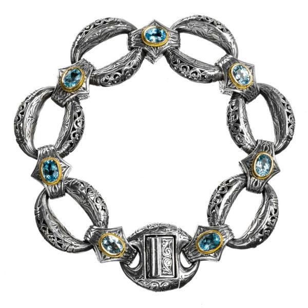 Gerochristo Solid 18K Gold & Sterling Silver Medieval-Byzantine Link Bracelet