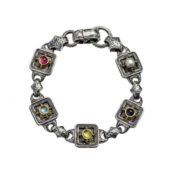 Solid 18K Gold, sterling silver Bracelet, with caboshon multi stones 4mm