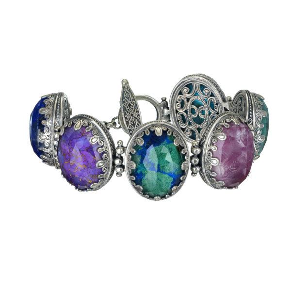 Gerochristo Sterling Silver Medieval Doublet Multi-Stone Link Bracelet