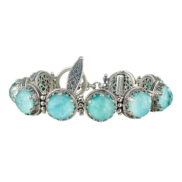 Gerochristo Sterling Silver Medieval Doublet Link Bracelet with Amazonite