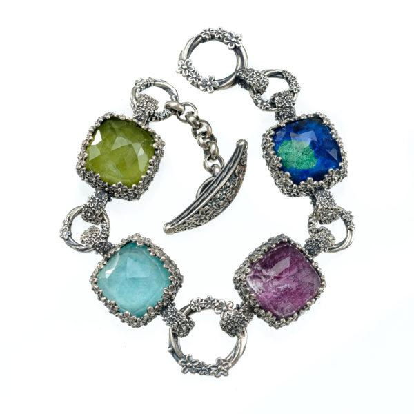 Gerochristo Sterling Silver Doublet Multi-Stone Link Bracelet