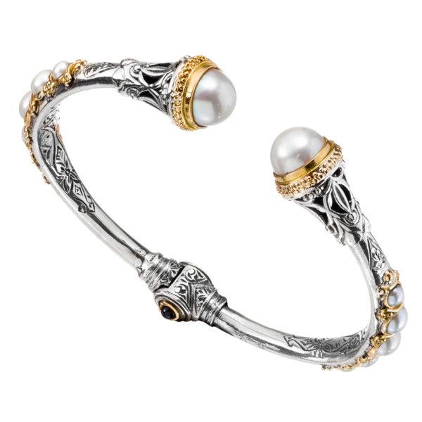 Gerochristo Solid 18K Gold, Silver & Pearls Medieval Doublet Cuff Bracelet