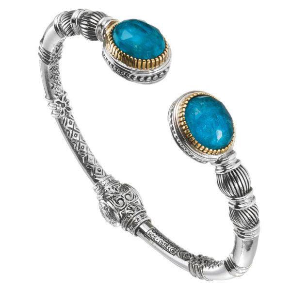 Gerochristo Solid 18K Gold & Sterling Silver Medieval Doublet Cuff Bracelet