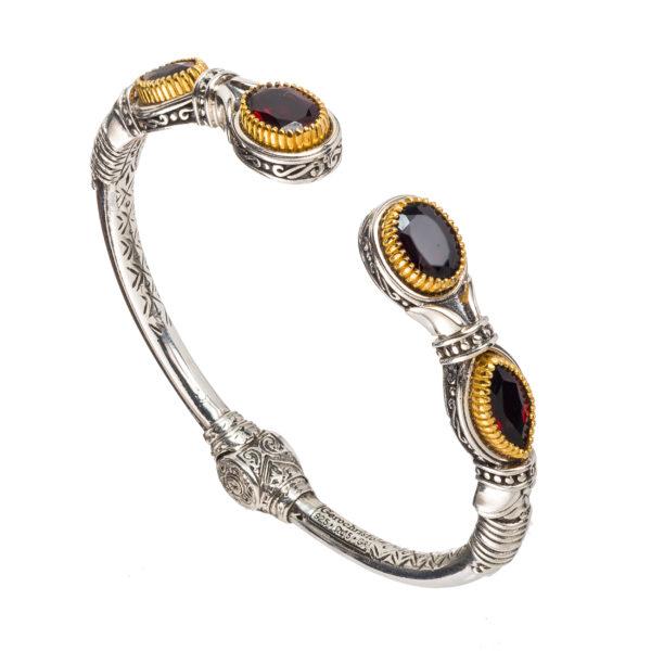 Gerochristo Sterling Silver & Stones Medieval Cuff Bracelet