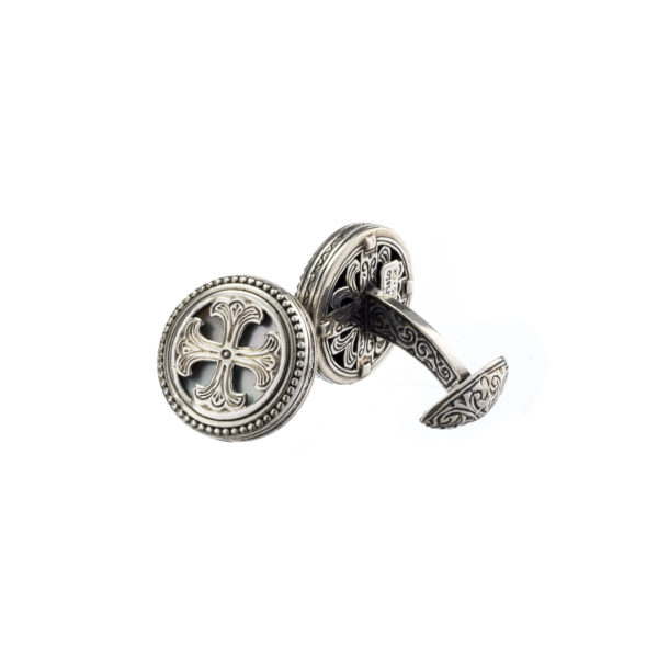 Sterling Silver & Mother of Pearl Medieval Cross Cufflinks