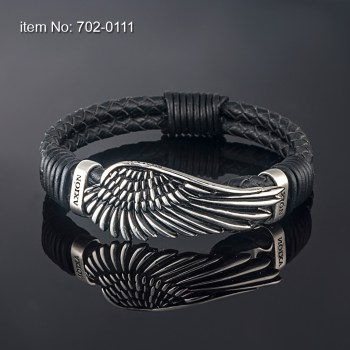 Large Sterling Silver Wing, Surrounded by Two Sterling Silver Bands Bracelet