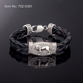 Sterling Silver Bracelet with greek key motif leon and with black braided genuine leather
