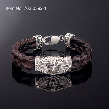 Sterling Silver Bracelet with greek key motif medussa and with black, or brown braided genuine leather