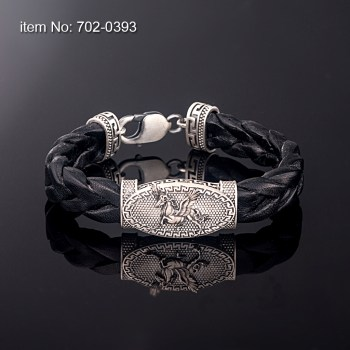 Sterling Silver Bracelet with greek key motif pegasus and with black braided genuine leather