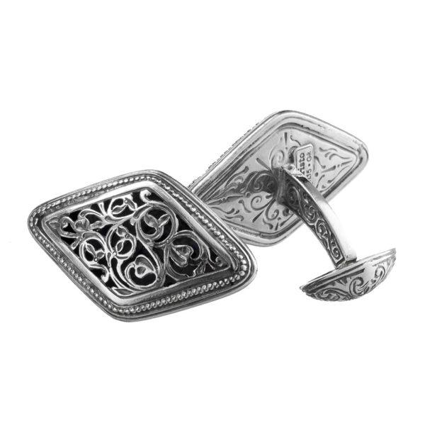 Sterling Silver Medieval Byzantine Large Filigree Cufflinks